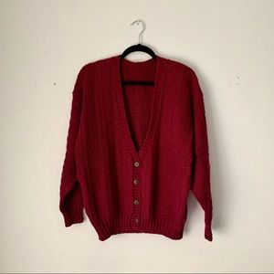 Vintage   maroon oversized knit cardigan